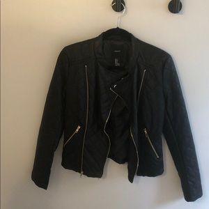 Faux Leather Jacket with gold hardware accents